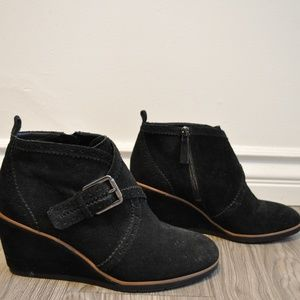 Franco Sarto Black Suede Leather Wedge Ankle Boots